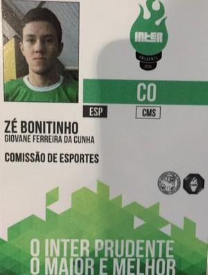 Giovane Cunha Inter Prudente Organização (Foto: Ive Rodrigues / GloboEsporte.com)