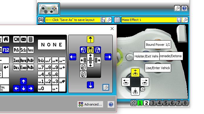 Clique no ícone do botão e escolha a opção do teclado que quer simular no controle (Foto: Reprodução/Tais Carvalho)