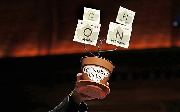A versão 2015 do troféu do Ig Nobel, prêmio criado como sátira do Nobel (Foto: Charles Krupa/AP)