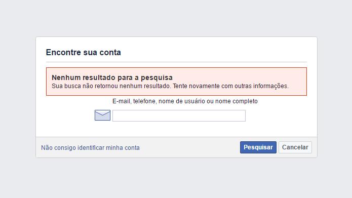 Sistema da rede social identifica contas existentes na plataforma (Foto: Reprodução/Facebook)