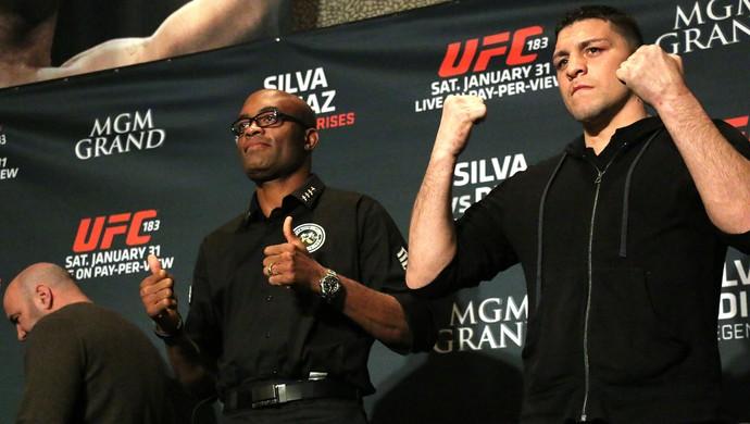 Anderson Silva e Nick Diaz, UFC 183 (Foto: Evelyn Rodrigues)