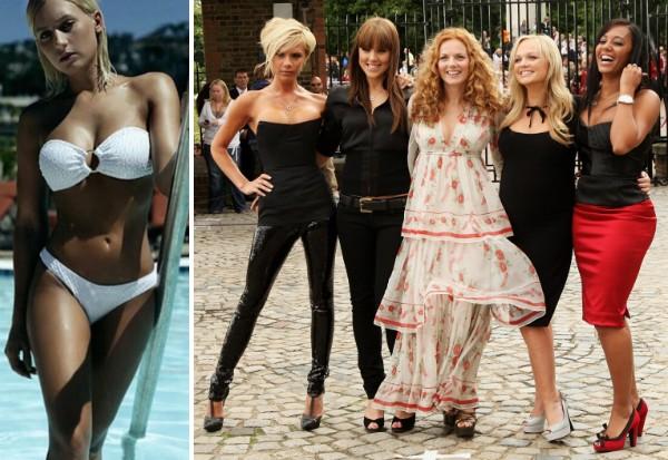 A ex-babá da cantora Mel B e a artista com suas colegas de Spice Girls (Foto: Reprodução/Getty Images)