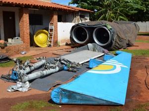 Parte das peças de aeronave já chegaram a Araraquara (Foto: Felipe Turioni/G1)