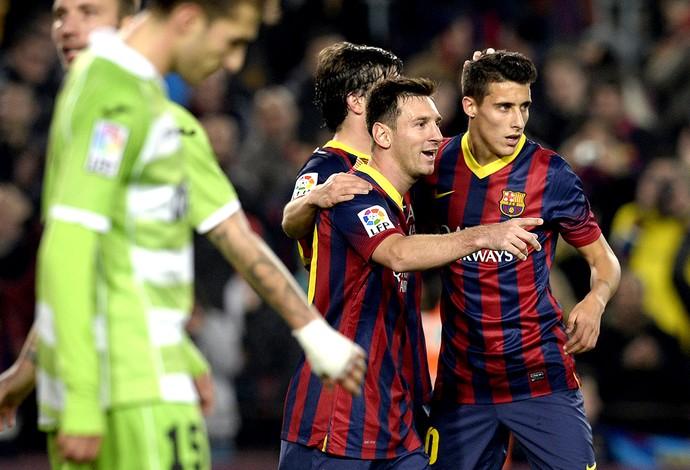 Messi comemoração jogo Barcelona contra Getafe (Foto: AFP)