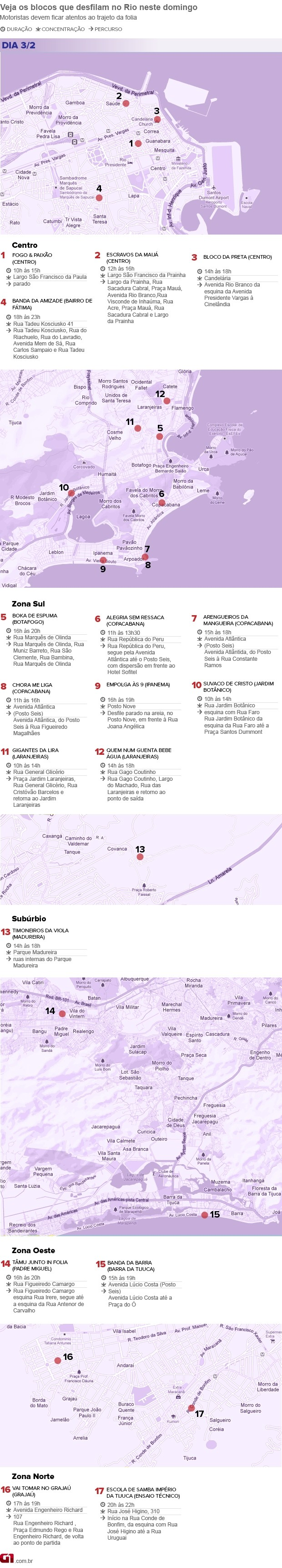mapa blocos de domingo no Rio de Janeiro (Foto: Arte/G1)