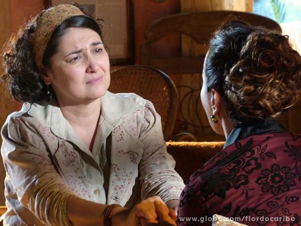 A cordelista teme pela reação de Dionísio (Foto: Flor do Caribe/TV Globo)