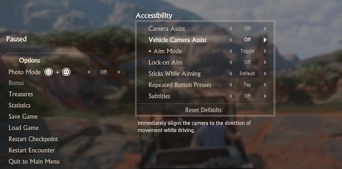 Uncharted 4 oferece diversas opções de acessibilidade (Foto: Reprodução/YouTube)