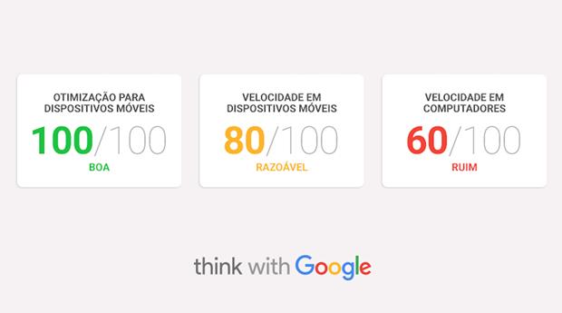 Google Teste Meu Site avalia com notas a compatibilidade do site com smartphones (Foto: Divulgação)