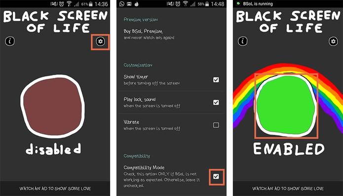 Abra o aplicativo Black Screen to Life e ative no grande botão central (Foto: Reprodução/Barbara Mannara)