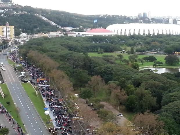Visão aérea Caminho do Gol Porto Alegre (Foto: André Azeredo/RBS TV)