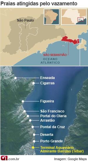 Arte - Praias atingidas por vazamento de óleo em São Sebastião (Foto: Editoria de Arte/ G1)