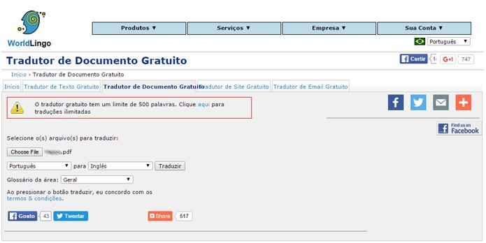 Tradutor possui limite de palavras por documento (Foto: Reprodução/WorldLingo)