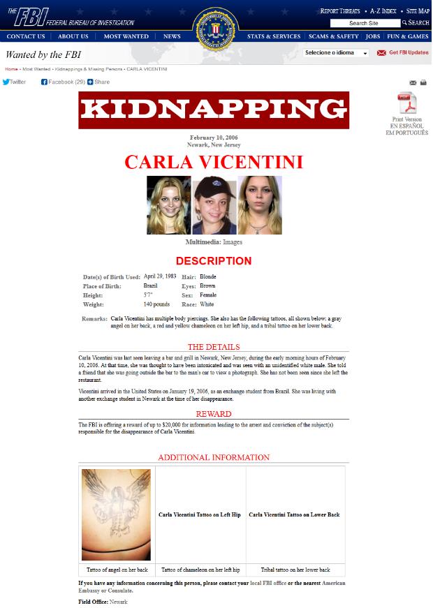 Nome de Carla Vicentini está no site do FBI  (Foto: Reprodução)
