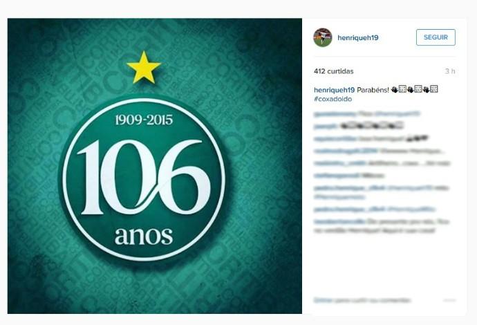 Henrique Almeida homenageia Coritiba pelos 106 anos (Foto: Reprodução/Instagram)
