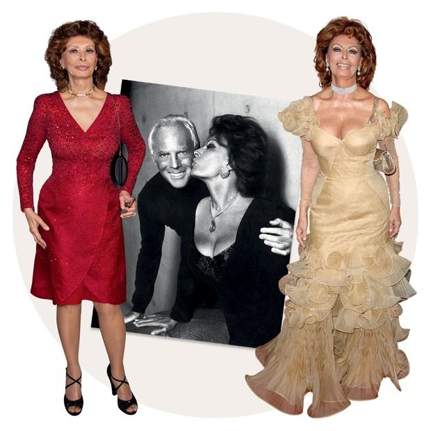 Ao centro, Sophia ao lado do estilista em foto de 2005 (Foto: Getty Images, Rex Features/Shutterstock, Divulgação e Reprodução Livro Giorgio Armani)