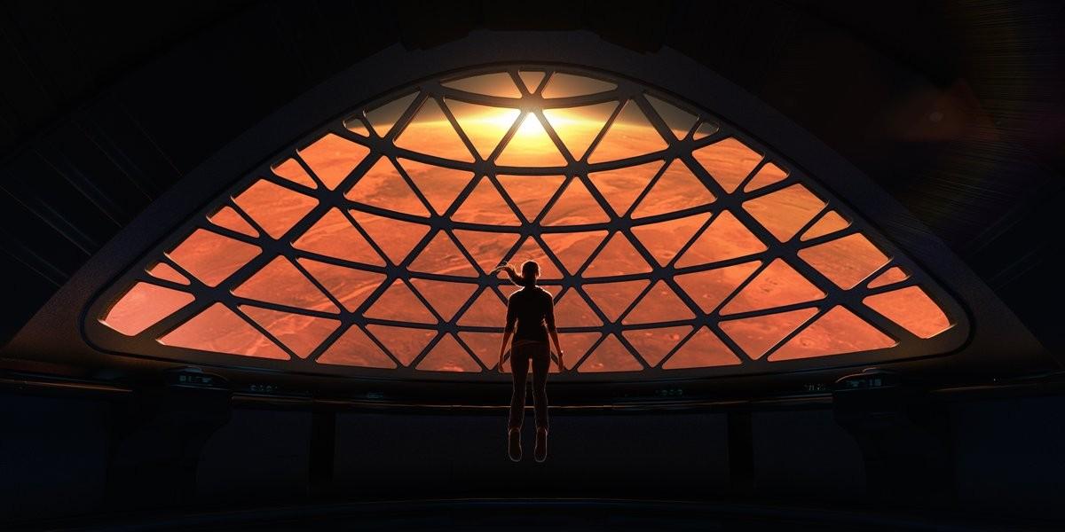 Concepção artística: prestes a se tornar parte da colônia de humanos em Marte, humana do futuro contempla seu novo lar planetário (Foto: divulgação)