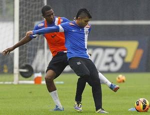 Renato Abreu Gabriel treino Santos (Foto: Ricardo Saibun / Divulgação Santos FC)
