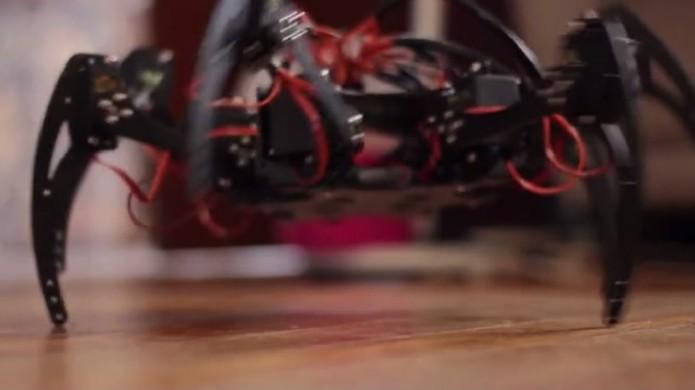Protótipo utilizando a Onion Omega,  aranha robô pode ser controlada pelo smartphone (Foto: Reprodução/Kickstarter)