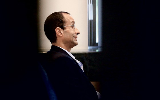 Marcelo Odebrecht durante depoimento (Foto: Rodolfo Buhrer/REUTERS)