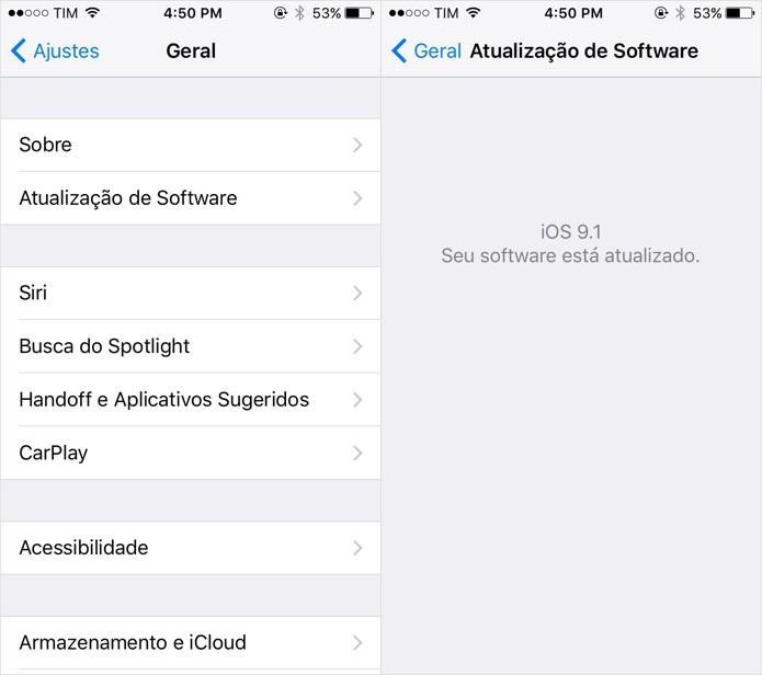 Verifique se você está com a versão mais recente do iOS  (Foto: Foto: Reprodução/Helito Bijora)