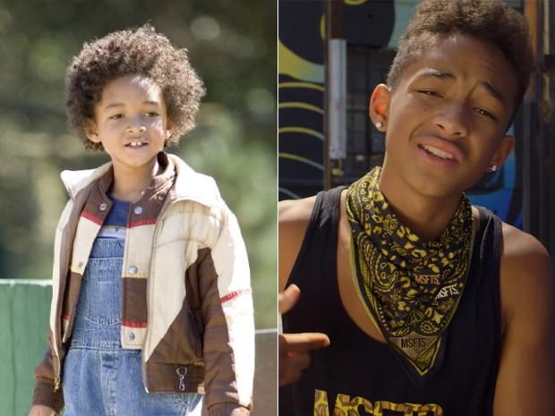 À esquerda, Jaden Smith no filme 'À procura da felicidade', de 2006, e à direita, no clipe de 'The coolest', de 2012 (Foto: Divulgação e reprodução/YouTube)
