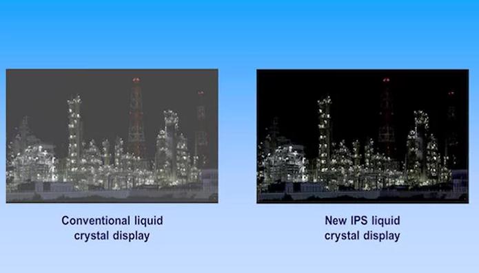 Imagem mostra a comparação dos dois tipos de LCD: à esquerda, repare nos tons escuros esmaecidos dos LCD convencionais (Foto: Divulgação/Panasonic)