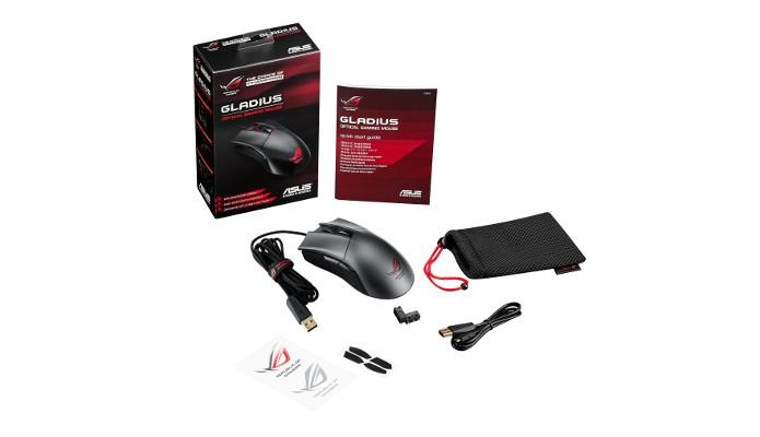 Conteúdo da caixa do ROG Gladius, mouse da Asus feito para jogos (Foto: Divulgação)
