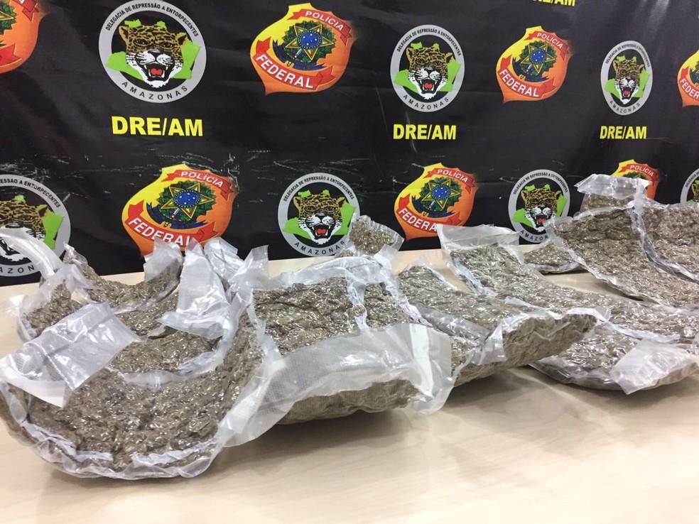 Drogas apreendidas com as suspeitas (Foto: Polícia Federal/Divulgação)