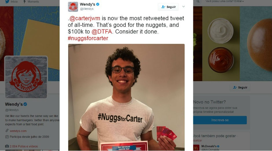 Adolescente também conseguiu uma doação de US$ 100 mil para uma ONG (Foto: Reprodução Twitter)