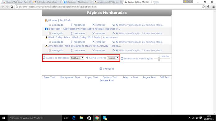 Page Monitor também pode emitir alerta sonoro e pop up se detectar alteração (Foto: Reprodução/Elson de Souza)