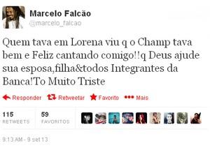 Falcão fala sobre a apresentação com Champignon. (Foto: Reprodução/Twitter)