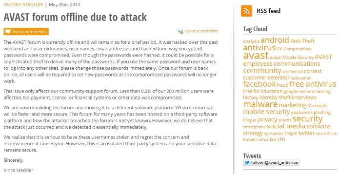 Avast admitiu ataque em comunicado oficial (Foto: Thiago Barros/Reprodução)