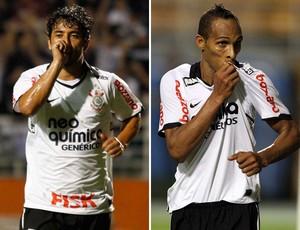 Douglas e Liedson Corinthians (Foto: Montagem sobre foto da Ag. Estado)
