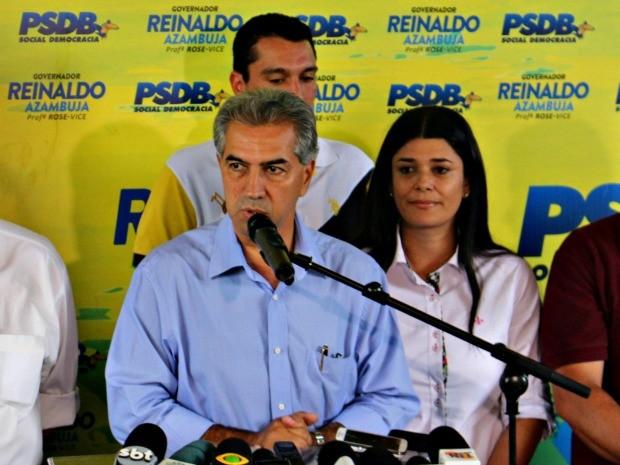 Coletiva Reinaldo Azambuja em MS (Foto: Fernando da Mata/ G1 MS)