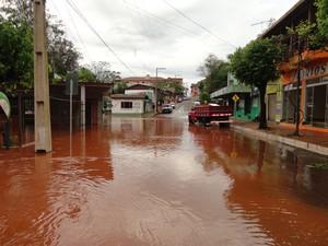 Choveu mais 30 mm em Porto Mauá, até às 13 horas, totalizando 225mm. (Foto: Vilson Winkler/Prefeitura de Porto Mauá)