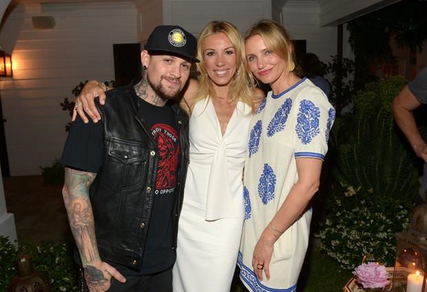 Benji Madden, Vicky Vlachonis e Cameron Diaz em Los Angeles (Foto: AFP)