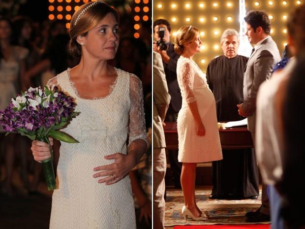 Grávida de Ágata, Carminha celebra seu casamento com o jogador (Foto: Avenida Brasil / TV Globo)