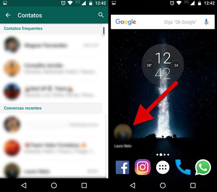 Fixando o widget do contato do WhatsApp na tela inicial (Foto: Reprodução/Felipe Alencar)