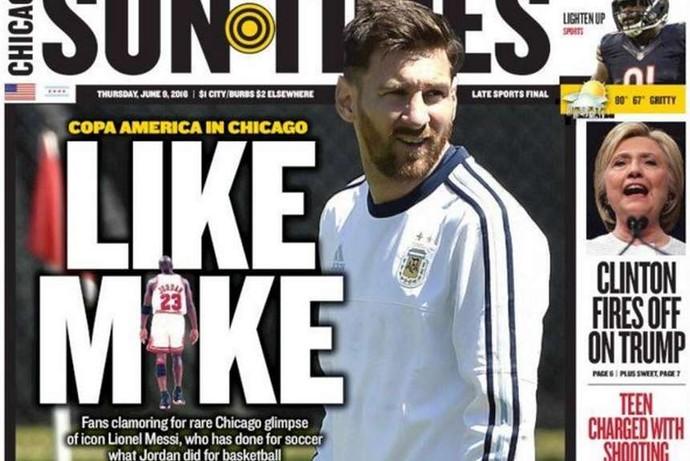 Capa jornal Chicago Messi Jordan (Foto: Reprodução / Twitter)