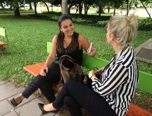 Vanessa Bender fala sobre a Copa em Porto Alegre (Foto: Rafaella Fraga/GLOBOESPORTE.COM)