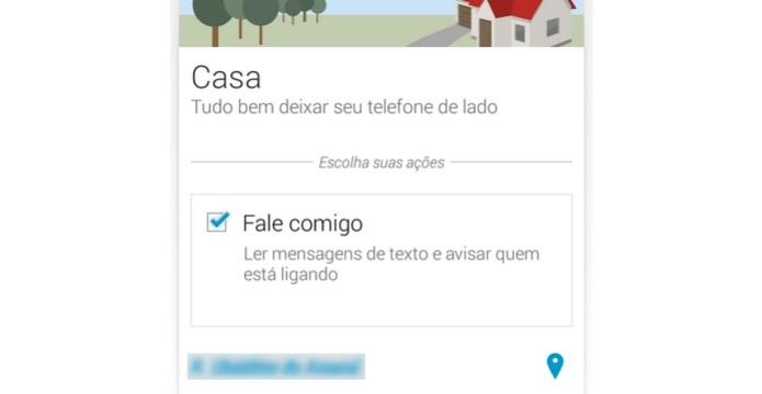 """Opção """"Fale comigo"""" no card """"Casa"""" marcada no Assist (Foto: Reprodução/Raquel Freire)"""