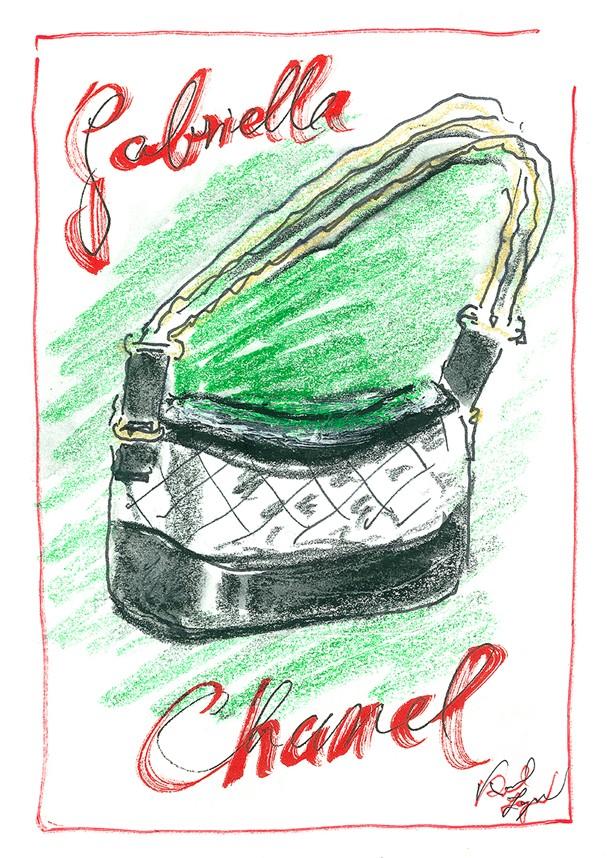Croqui, feito por Karl Lagerfeld, da bolsa Gabrielle  (Foto: Divulgação)