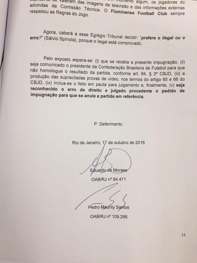 documento flu cbf anulação fla-flu (Foto: Wellington Campos / Rádio Itatiaia)