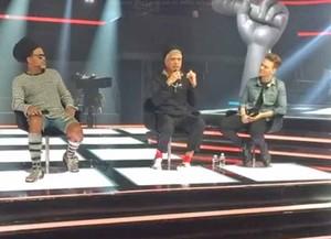 Brown, Lulu e Teló durante a coletiva de imprensa da nova temporada do 'The Voice' (Foto: Reprodução/Internet)