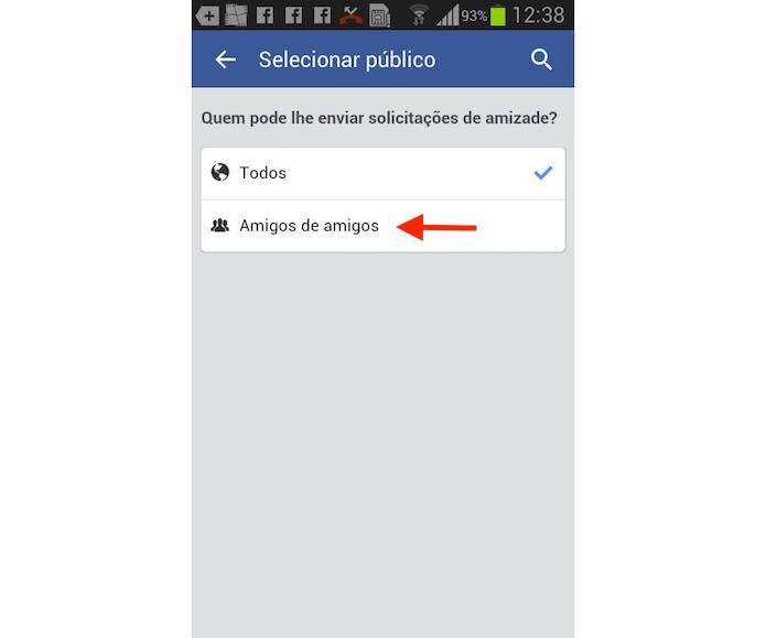 Opção para definir para amigos de amigos a possibilidade de envio de solicitações de amizade no Facebook para Android (Foto: Reprodução/Marvin Costa)