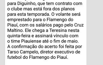 """Notícia de Diguinho no Fla-PI viraliza e gera dor de cabeça a dirigente: """"Má-fé"""""""