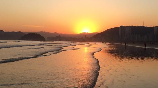Pôr do sol em Santos (Foto: Solange Freitas)
