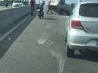 Capotamento deixa trânsito lento na ponte Wilson Mendes, em Cabo Frio