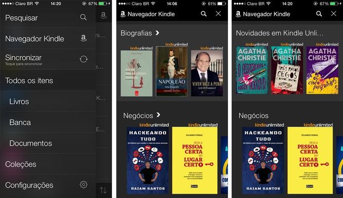 Aplicativo do Kindle para iOS tem novo navegador para iOS que permite visualizar o catálogo de títulos (Foto: Reprodução/Isadora Díaz)