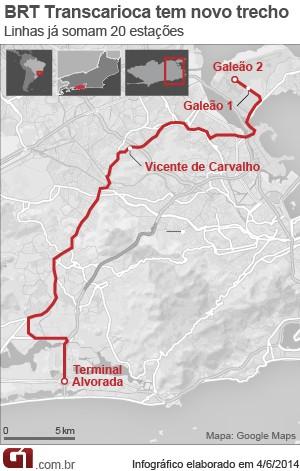 Mapa do BRT Transcarioca (Foto: Editoria de Arte/G1)